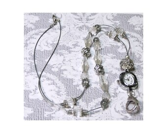 Beaded necklace Watch Lanyard, Work ID badge holder - Silver grey