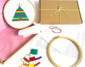 Modern Cross stitch kit - Teepee - For Beginners - Easy Cross Stitch Pattern