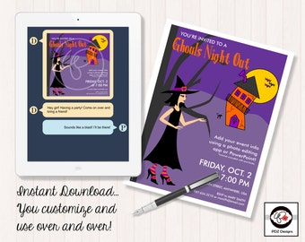 Ghouls Night Out - Girls Night Out Invitation - Girls Night In Invitation - Business Party Invitation - Digital Business Party Invitation