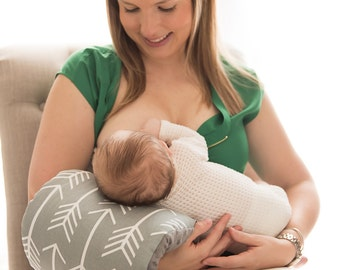 NURSIE® ORIGINAL Arm Nursing Pillow/ Gray and White Arrow Nursing Pillow/ Nursing Arm Pillow/ Patent Pending/ Support Pillow/ Nursie