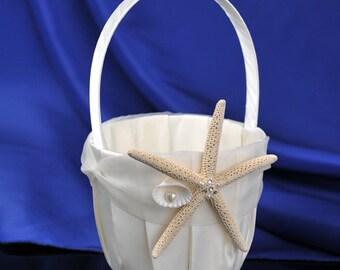 Starfish Seashell Ivory Wedding Flower Girl Basket Beach Theme Wedding Engagement Decoration