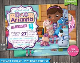 85% OFF - Doc McStuffins Invitation - INSTANT DOWNLOAD - Doc McStuffins Birthday Invite - DiY Personalize & Print - (DMin02)