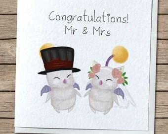 Mr & Mrs Moogle Wedding Card - FFXIV