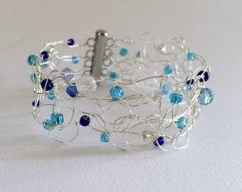 Silver Wire Beaded Cuff Bracelet