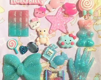 kawaii pink-blue decoden set resin cabochon