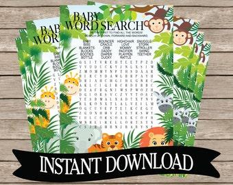 SAFARI ANIMALS Word Search Baby Shower Game, Instant Download, Jungle, Zoo, animals, elephant, monkey, giraffe, printable, girl, boy, B131