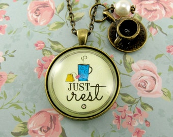 Be Still, Just Rest Inspirational Quote Bible Verse Pendant Necklace Jewelry Gift Hospital Gift Get Well Soon Gift Grief Gift