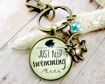 """Just Keep Swimming Keychain Encouragement Gift, Glass 1.20"""" Antique Bronze Nautical Style Key Ring Fish Charm"""
