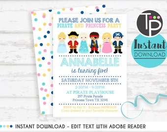 PIRATE and PRINCESS Party Invitation, Instant Download Invitation, Pirate and Princess Invitation, Pirate Party, Edit text with Adobe Reader
