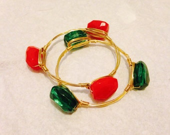 Jeweled Wire Bangles
