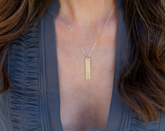 Vertical Bar Necklace /Name Bar Necklace/Long Gold Necklace/ Nameplate necklace/ Everyday / Gift for Her/Gift for Wife/ New Mom Gift/N119