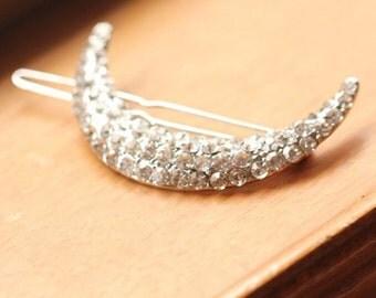 Silver Rhinestone Crecent Moon Hair Clip