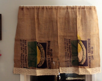 Burlap Coffee Sack Curtains embellished with cotton lace - Ships Free