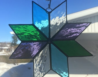 Purple/Clear/Green/Aqua Stained Glass Sunctacher 8 Point Star