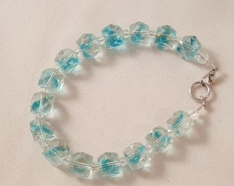 Blue Ribbon Glass Squared Bead Bracelet - Women's Bracelet - Women's Blue Bracelet - Square Bead Bracelet - Square Bracelet - Blue - Clear