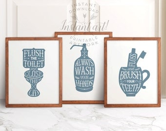 Bathroom wall decor PRINTABLES slate-blue-gray set of 3 flush the toilet wash your hands brush your teeth bathroom printable decor instant