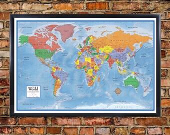 Push Pin Travel Map Etsy - Us map of states cork poster