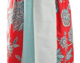 "Belted Maxi Skirt, Women's Sizes XS-Med, High Waisted, 47"" Long, Matching Headband, Beautiful, Soft Cotton Print, Reversible Belt"