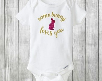 Some bunny loves you onesie, Easter onesie, Easter outfit, bunny, glitter Easter, baby girl outfit, baby girl onesie, baby girl, baby onesie