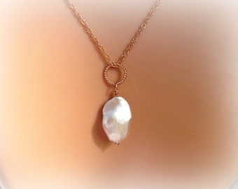 Large Keishi Pearl Pendant Necklace On Rose Gold Filled Rope Chain - Gift For Her