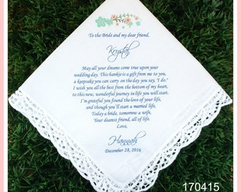 Friend of the Bride-Best friend-Wedding Hankerchief-GIft for Bride-PRINTED-CUSTOMIZED-Weddings-Something blue-Bride gifts from Bridesmaid