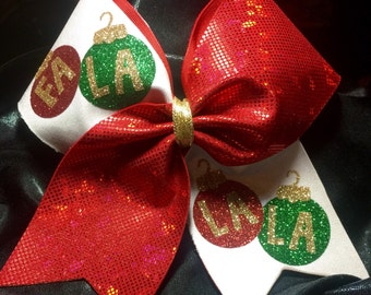 Glitter Fa La La La Christmas Ornaments Cheer Hair Bow