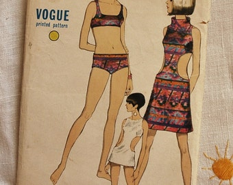 Vintage vogue 1960s swim suit pattern, Vogue 7073, bikini and cover-up dress, size bust 36 inches