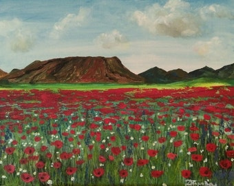 Poppies - Original acrylic painting on canvas