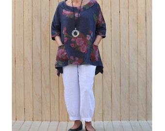 Plus Size Linen Lagenlook Tunic Top Quirky Artsy Pockets Asymmetric Size UK 14 16 18 20 22 24/US 12 14 16 18 20 22 L  XL xxl Floral 3118