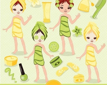 70% OFF SALE Spa girl digital clipart, girl party clipart, spa girl clipart, spa clipart, girls spa party for commercial use - CA126