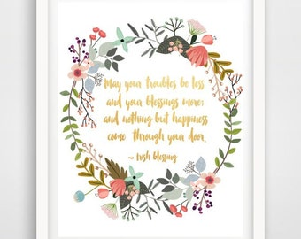 Irish Blessing, May Your Troubles,  Printable Art, Quote Print,  Inspirational Print, Home Decor, Wall Art, Instant Download