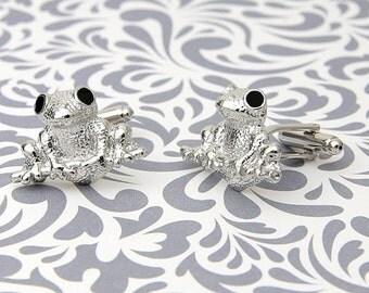 ON SALE Cufflinks Frog Toad Amphibian Silver Business Shirt Wedding Gift