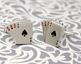 ON SALE Four Aces Poker Steel Las Vegas Gamble Playing Cards Wedding Cufflinks