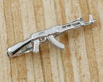 Gun Tie Clip Ammo Clasp Bar Wedding Firearm Weapon Navy Rifle Hunting Army