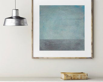 Grey and Blue landscape painting print, custom sizes