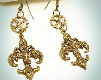 Fleur-de-lis earrings steampunk earrings vintage drop earrings Victorian fish hook earrings industrial earrings steampunk jewelry french