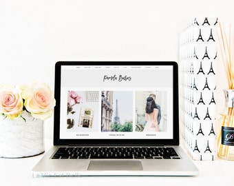 Styled Stock Photography - Macbook Pro Desktop Product Mockup with Roses, Eiffel Tower File & Candle - White Desktop - Social Media Photo