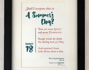 Shakespeare: Sonnet 18 'Shall I Compare Thee To A Summer's Day?' - A5 Letterpress Typographic Print