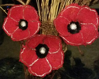Red and black Handmade burlap flowers