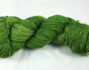hand dyed sock yarn, donegal tweed sock, superwash merino and NEP, colorway GRANNY SMITH