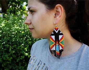 Peyote stitch beaded earrings, peyote tribal earrings