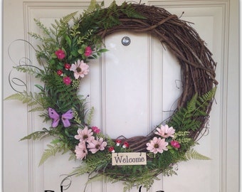 Floral wreath, spring home decoration, mother's day gift, front door wreath.