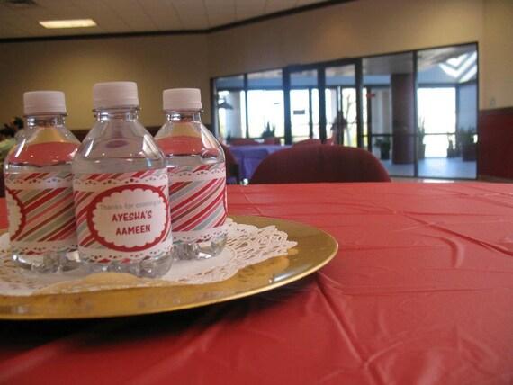 Water bottle labels bottled water labels diy party favors for Diy mineral water bottle
