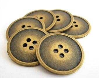 Flat metal buttons, 6 bronze metal buttons 23 mm across, unused!