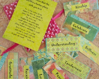 Mini Affirmation Cards : Courage, Acceptance, Love, Kindness, Peace , Gratitude ( in Pastel )