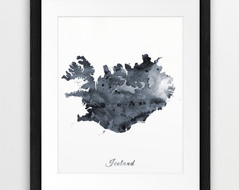 Iceland Map Printable Art, Iceland Watercolor Grey Black White, Iceland Watercolor Print, Iceland Map Wall Art, Travel Print, Digital Print