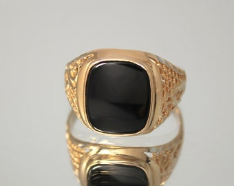 Black onyx ring, Onyx men ring, Square men ring, Signet men ring, Gold signet ring, Black stone ring, Black ring men