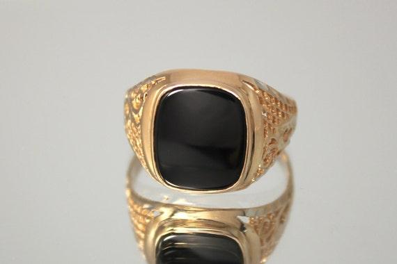 Black onyx ring yx men ring Square men ring Signet men
