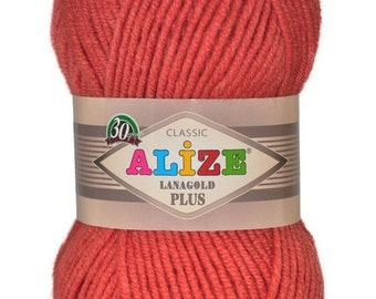 LANAGOLD PLUS Alize 100 gr.- 140 m. knitting crochet Soft yarn , Wool Yarn, Wool mixture, chunky yarn