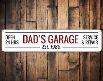 Dad's Garage Sign, Personalized Established Date Sign, Open 24 Hours Service & Repair Mechanic Man Cave Sign - Quality Aluminum ENS1001525